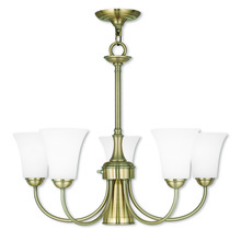 Livex Lighting 6465-01 - 6 Light Antique Brass Dinette Chandelier