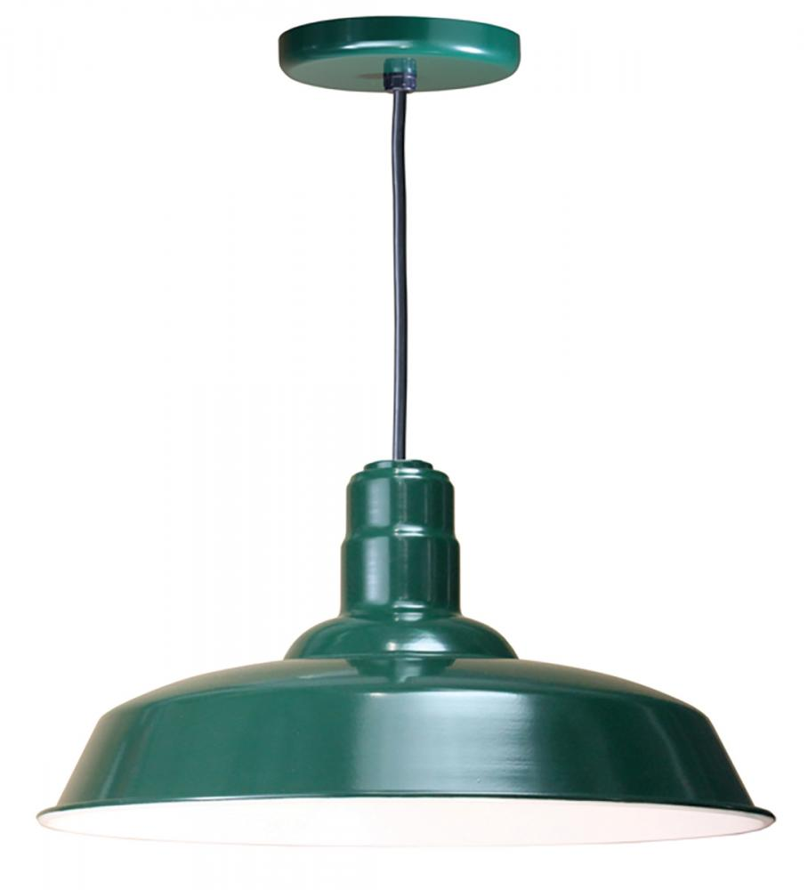 "Vinings Lighting Inc in Alpharetta, Georgia, United States, American Nail Plate W520-BLC-42, 20"" Warehouse reflector Barn Style Shade in Forest Green on an 8' Black cord using a medium , Nostalgic, Industrial Barn Warehouse shade"