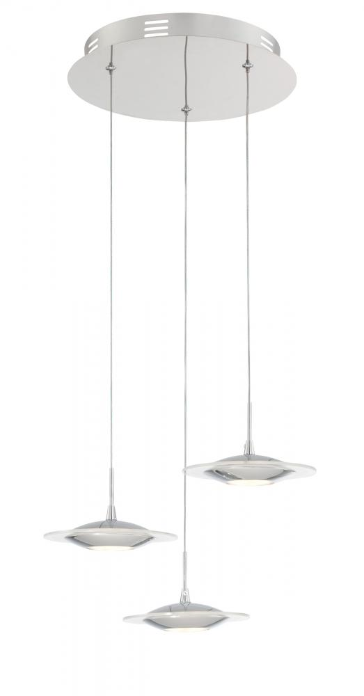3-Lite Led Pendant, Chrome/Frost Glass Shade, Led 5Wx3