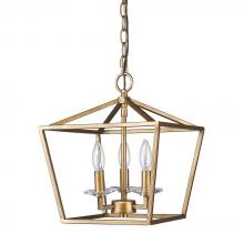 Acclaim Lighting IN11131AG - Kennedy Indoor 3-Light Pendant w/Crystal Bobeches In Antique Gold