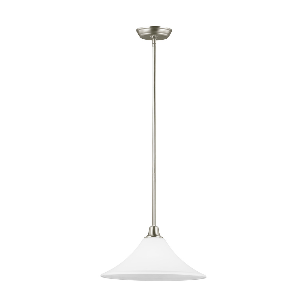 Vinings Lighting Inc in Alpharetta, Georgia, United States, Sea Gull 6513201BLE-962, Fluorescent Metcalf One Light Down Pendant in Brushed Nickel with Satin Etched Glass, Metcalf
