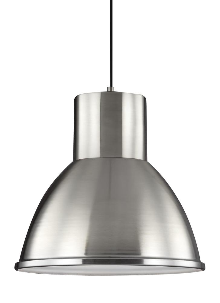 Fluorescent Division Street One Light Pendant in Brushed Nickel