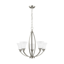 Sea Gull 3113205BLE-962 - Fluorescent Metcalf Five Light Chandelier in Brushed Nickel with Satin Etched Glass