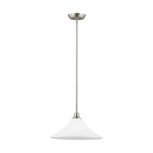 Sea Gull 6513201BLE-962 - Fluorescent Metcalf One Light Down Pendant in Brushed Nickel with Satin Etched Glass