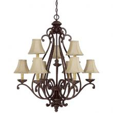 Capital 3018WB-413 - Nine Light Weathered Brown Up Chandelier