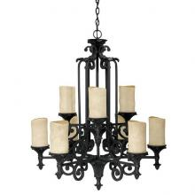 Capital 3269WI-125 - Nine Light Wrought Iron Candle Chandelier