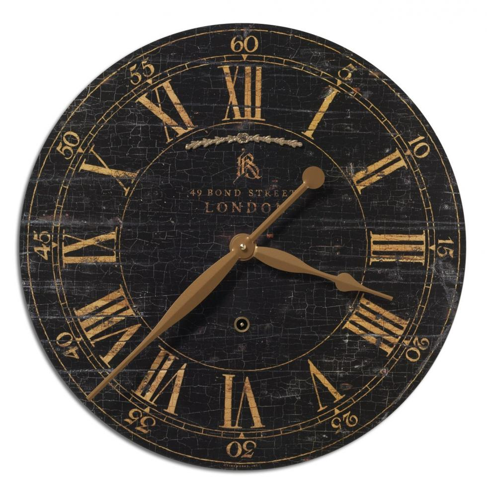 "Vinings Lighting Inc in Alpharetta, Georgia, United States, Uttermost 06029, Uttermost Bond Street 18"" Black Wall Clock, Bond Street"