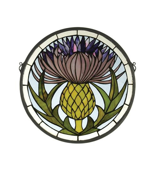 "Vinings Lighting Inc in Alpharetta, Georgia, United States, Meyda Tiffany 28436, 17""W X 17""H Thistle Stained Glass Window, Thistle"