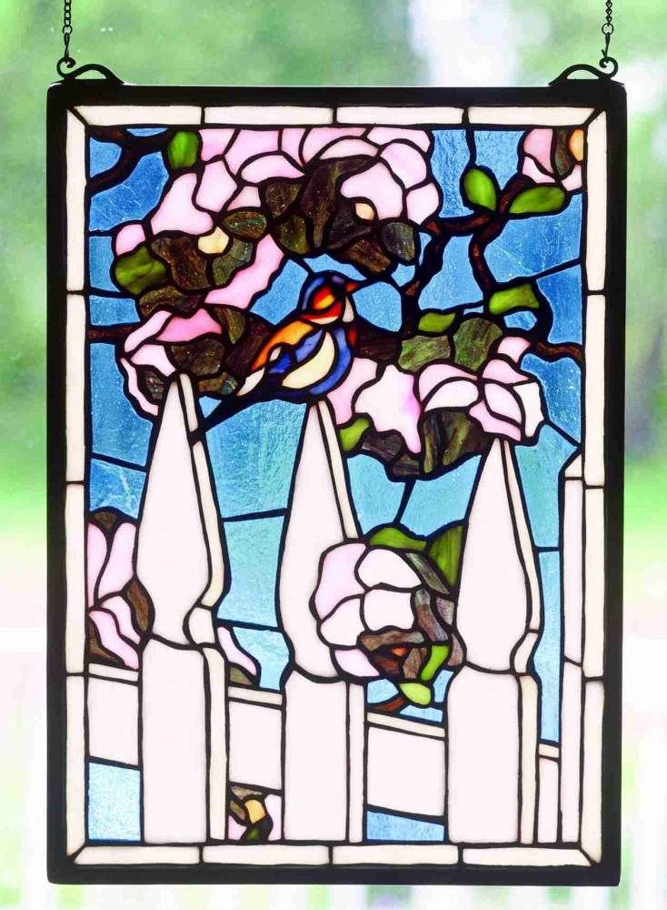 "Vinings Lighting Inc in Alpharetta, Georgia, United States, Meyda Tiffany 48001, 13""W X 18""H Picket Fence Stained Glass Window, Picket Fence"