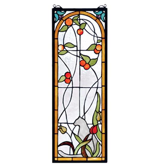 "Vinings Lighting Inc in Alpharetta, Georgia, United States, Meyda Tiffany 67117, 9""W X 25""H Cat & Tulips Stained Glass Window, Cat & Tulips"