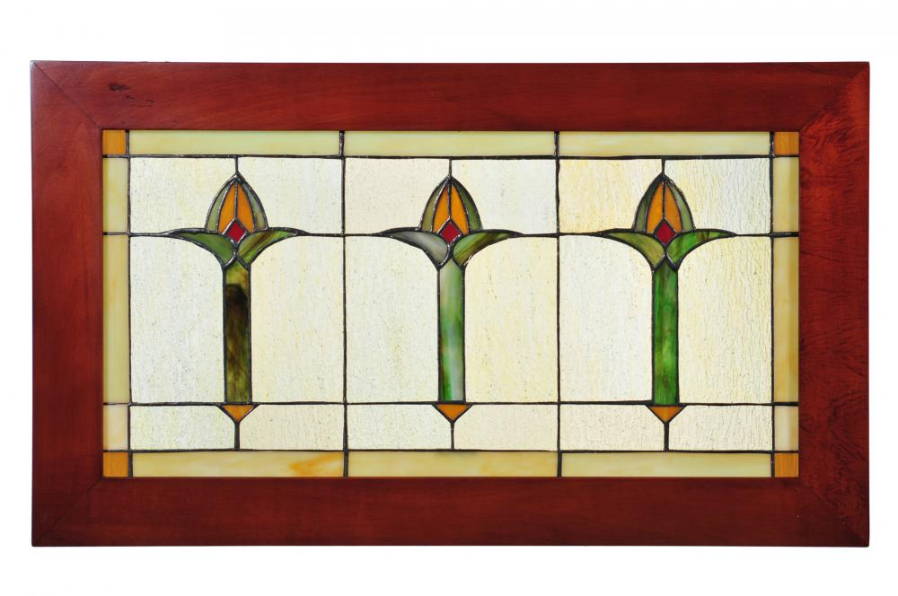 "Vinings Lighting Inc in Alpharetta, Georgia, United States, Meyda Tiffany 97961, 24""W X 14""H Arts & Crafts Bud Trio Wood Frame Stained Glass Window, Arts & Crafts Bud Trio"